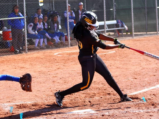 Alamogordo junior Aiyanna Jones makes contact Thursday morning during the first-round of the Class 5A state playoffs.