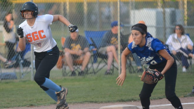 South Gibson's Kaitlyn Martin attempts to go home against McNairy Central on Monday.