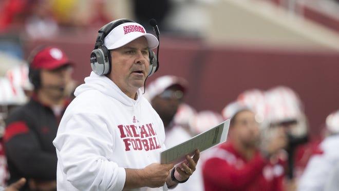 Kevin Wilson, Head Coach of Indiana, Penn State at Indiana Football, Memorial Stadium, Bloomington, Saturday, Nov. 8, 2014. Penn State won 13-7.