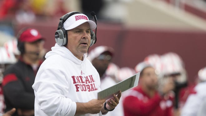 FILE -- Kevin Wilson, Head Coach of Indiana, Penn State at Indiana Football, Memorial Stadium, Bloomington, Saturday, Nov. 8, 2014. Penn State won 13-7.