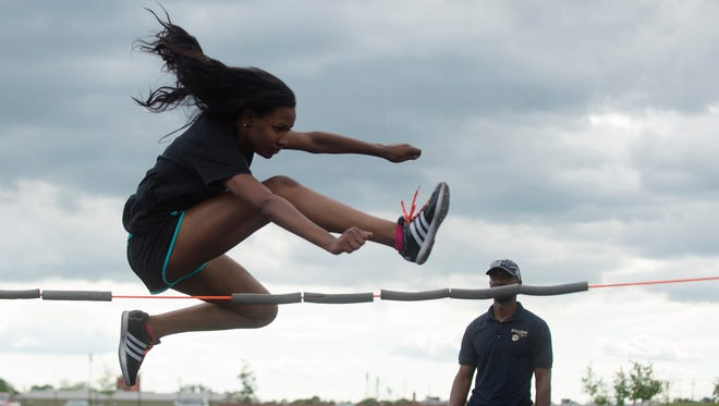 Brew Tech's Jalyn Bowden practices the high jump on Monday, April 24, 2017, in Montgomery, Ala. Bowden has signed at Tennessee State for track and field.