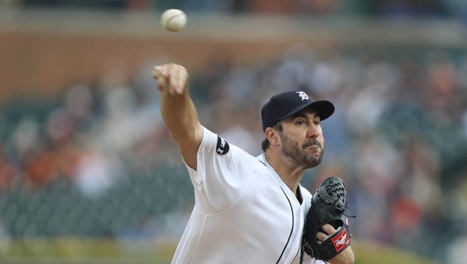 Detroit Tigers Justin Verlander pitches against the Kansas City Royals during first inning action Tuesday, June 27, 2017,at Comerica Park in Detroit.