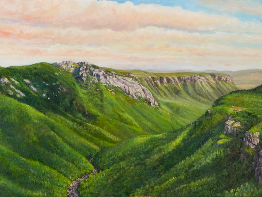 "A painting by Bryan Koontz titled ""Linville Gorge Late"