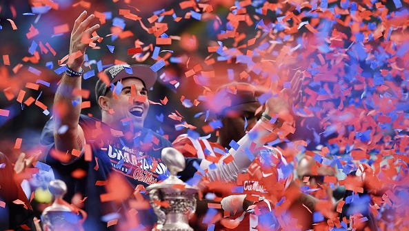 Quarterback Chad Kelly celebrates following Ole Miss' win in the Sugar Bowl in January. The senior is among the best returning quarterbacks in the country.