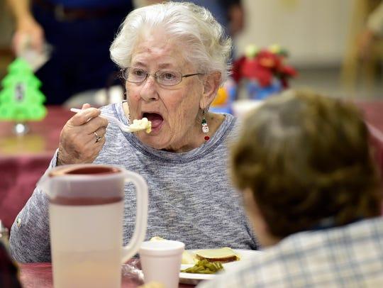 Sandra Houck eats  lunch Wednesday, Dec. 9, 2015 at