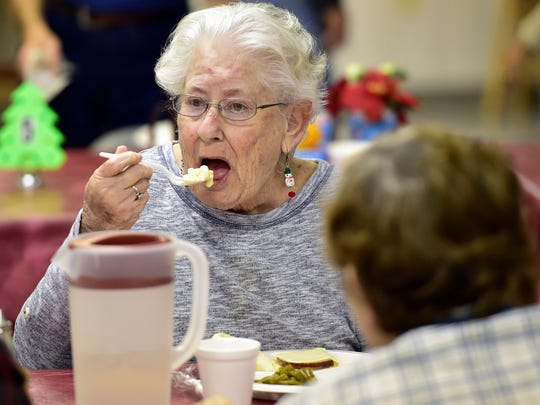 Sandra Houck eats  lunch Wednesday, Dec. 9, 2015 at Chambersburg Senior Center. The center helps the 80-year-old get by with the $650 a month she gets in Social Security benefits.