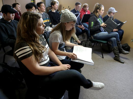 Students in the Liberty Christian Singers rehearse