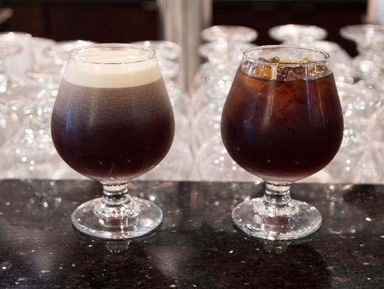 Nitro coffee, left, and cold brew coffee at Mug & Spoon