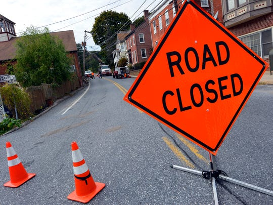 Main Street in Glen Rock near the Glen Rock Mill Inn will be closed for several hours while utility workers replace a pole following a car accident, Thursday Oct. 5, 2017. John A. Pavoncello photo