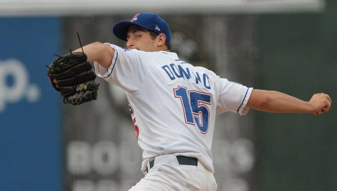 Joe Donino pitches for the Rockland Boulders on Monday, August 11.