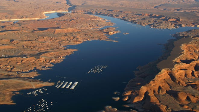 This aerial view of Lake Powell in the Glen Canyon National Recreation Area was taken in 2008.