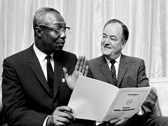 U.S. Sen. Hubert Humphrey of Minnesota, right, with Dr. Stephen J. Wright, president of Fisk University, said May 31, 1964, that the civil rights bill could be on President Johnson's desk by July 4.