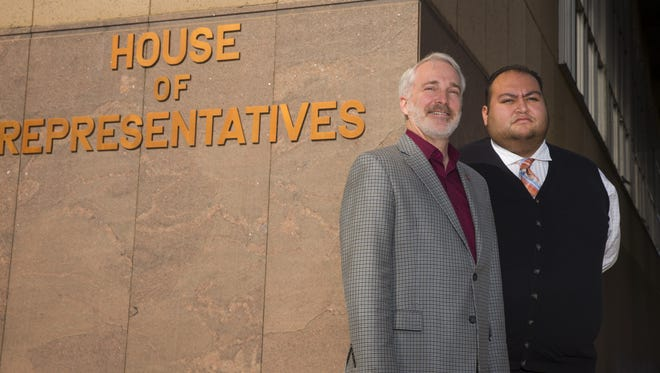 Arizona State representatives Randall S. Friese and Daniel Hernandez at the State Capitol on Jan. 16, 2018 in Phoenix, Ariz.  In the 2011 at the Tucson mass shooting, Hernandez rushed to the side of Congresswoman Gabrielle Giffords after she was shot in the head outside a Tucson supermarket. Hernandez, then a 20-year-old intern in her office, held his hand over Giffords' wound to slow the bleeding. Friese, a trauma surgeon, tried unsuccessfully to save the life of 9-year-old Christina-Taylor Green before readying Giffords for the first surgery that would ultimately save hers. Seven years later, the events of the Tucson mass shooting where a gunman killed 6 people and wounded 13 others, including Giffords, Hernandez and Friese continue a years-long fight for tougher gun regulations at the Arizona Capitol.