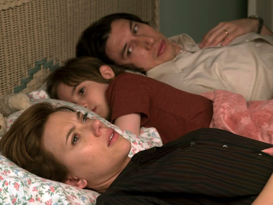 """Scarlett Johansson, left, and Adam Driver in """"Marriage Story."""""""