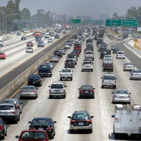 Traffic stacks up on the eastbound Santa Monica Freeway in Los Angeles. Cars that can electronically talk to each other could help make driving safer