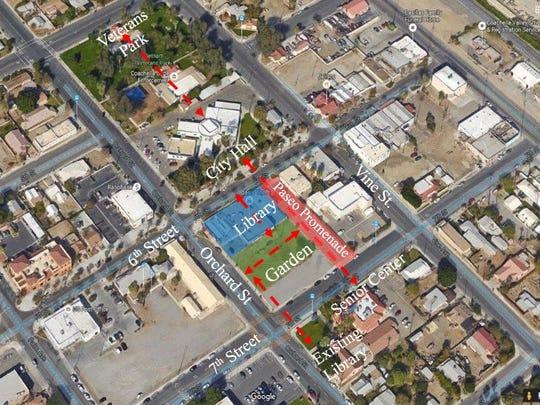 A conceptual site plan for Coachella's new library.