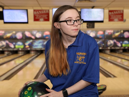 Mahopac's Jessica Kasper who is this year's Westchester/Putnam girls bowler of the year  was photographed at Jefferson Valley Lanes April 2, 2018.