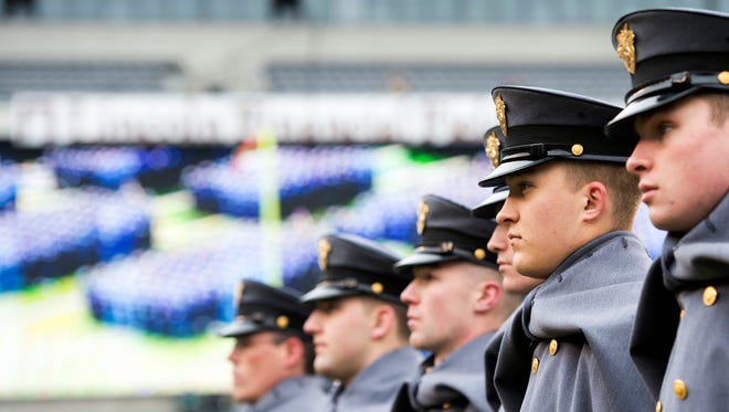 U.S. Army cadets stand in formation during the annual march prior to last year's Army-Navy game at Lincoln Financial Field.