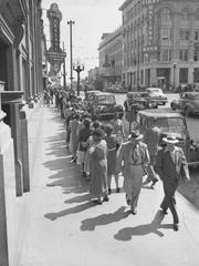 World War II: Sugar stamp line on Marshall St., 1944-Apr-26:
