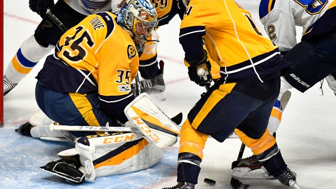 Nashville Predators goalie Pekka Rinne (35) stops a shot early in the first period in game 4 of the second round NHL Stanley Cup Playoffs at the Bridgestone Arena Tuesday, May 2, 2017, in Nashville, Tenn.