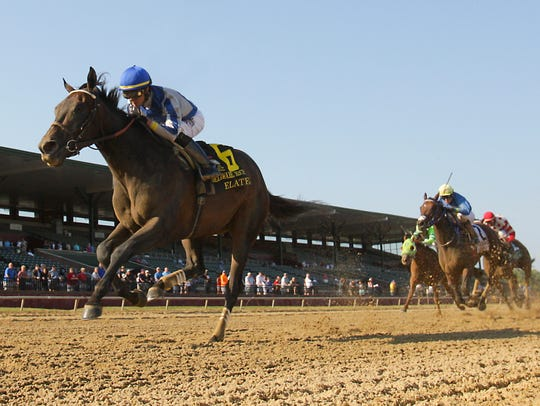 Elate, with jockey Jose Ortiz, wins the $750,000 Delaware