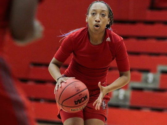 UL's Troi Swain looks to pass during an early practice earlier this month at E.K. Long Gym.