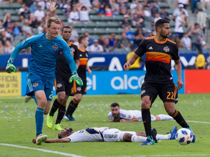 Houston Dynamo goalkeeper Joe Willis looks for the