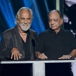 LOS ANGELES, CA - APRIL 18:  Actors Tommy Chong (L) and Cheech Marin speak on stage at the 28th Annual Rock and Roll Hall of Fame Induction Ceremony at Nokia Theatre L.A. Live on April 18, 2013 in Los Angeles, California.