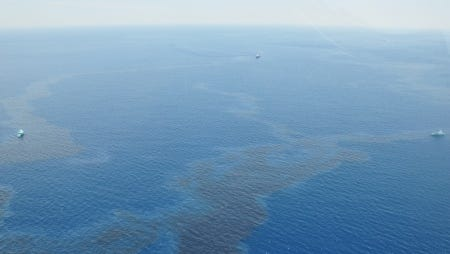 The oil sheen extends in the Gulf of Mexico following Thursday's spill.