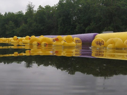 Mustached rubber ducks race down the Kalamazoo River during the Battle Creek Metropolitan Moustache Society Raft Race on Saturday, June 23, 2018.