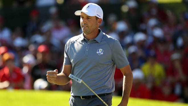 Sergio Garcia celebrates a made putt at the 2016 Ryder Cup.