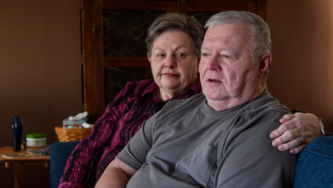 Mary Ann and Reece Dean pose for a portrait at their home  in Nashville, Tenn., Friday, Nov. 10, 2017. Reece, who suffers with MCI, an early stage of memory loss that often precedes Alzheimers is on a two-year experiment trial through Vanderbilt using a nicotine patch.