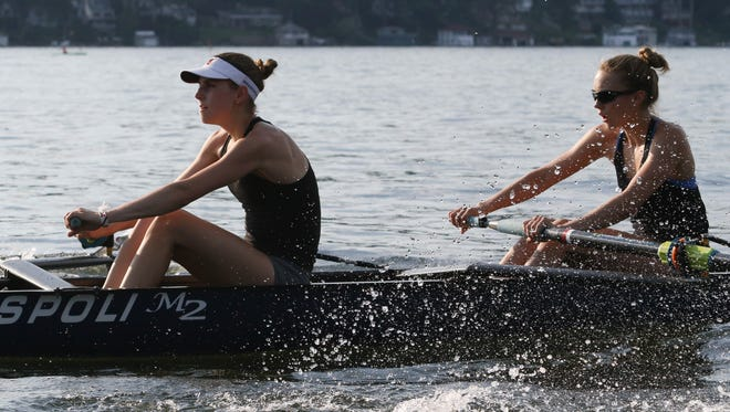 Mendham senior Emma Tracy, on left, and Mountain Lakes senior Ellie Thomson row the lightweight 4+ during practice for the 2018 US Rowing Youth National Championships in Gold River, Calif. in Mount Arlington on May 29, 2018.