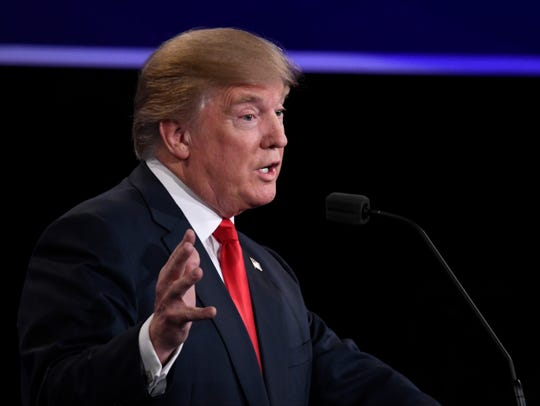 Donald Trump speaks during the third presidential debate