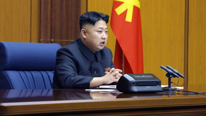 In this undated photo released by the Korean Central News Agency North Korean leader Kim Jong Un attends an enlarged meeting of the Central Military Commission of the Workers' Party of Korea at an undisclosed location of North Korea.