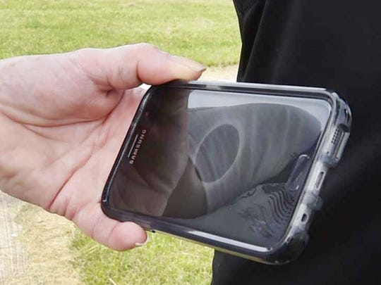 A totality solar eclipse from an earlier time zone with the help of a cellphone at the Ray and Ruthie Stonecipher Astronomy Center, 2200 Utah St., Sturgeon Bay, on Monday, Aug. 21, 2017. To see more photos, go to: www.doorcountyadvocate.com.