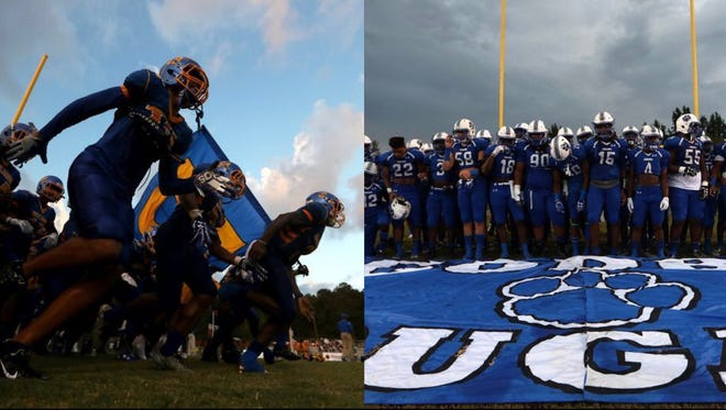 Rickards and Godby football play on Friday night.