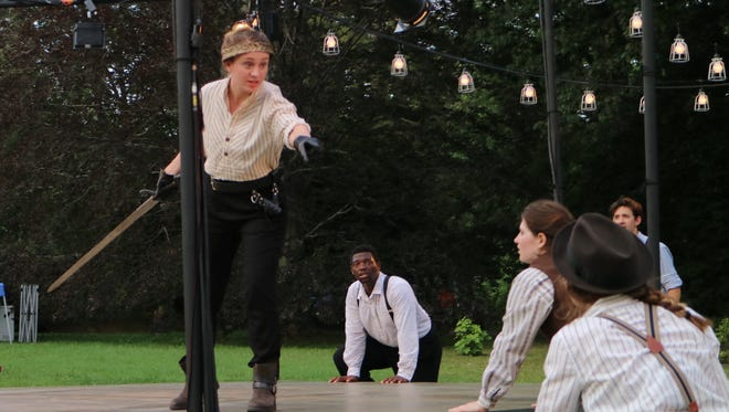 "Emilie Krause in rehearsals as King Henry V during Delaware Shakespeare's ""Henry V."" The show runs through July 31 at Rockwood Park."