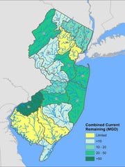 The areas in yellow are New Jersey watershed areas