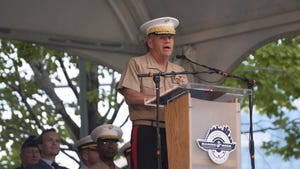General Robert Neller, Commandant of the United States Marines Corps and a Michigan (Lansing) native, gives a speech during the opening ceremony for Marine Week Detroit at Campus Martius Park in this September 6, 2017, file photo. Neller said in a memo this week to the Navy secretary that the Marines have pulled out of three military exercises and cut equipment maintenance.