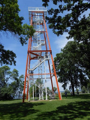 Calumet Harbor Lighthouse was restored in 1992 as a skeletal steel observation tower.