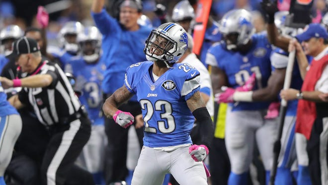 Lions cornerback Darius Slay celebrates after causing Philadelphia Eagles running back Ryan Mathews to fumble late in the fourth quarter Sunday, Oct. 9, 2016 at Ford Field in Detroit.