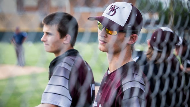 Wes-Del's Connor and Camden Townsend in the dugout during their game against Daleville at Daleville High School Wednesday, May 17, 2017.