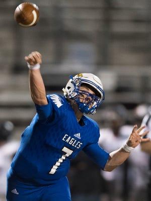 Eastside quarterback Jordan Morgan (7) throws the ball during their game against Westwood on Friday, Nov. 10, 2017.