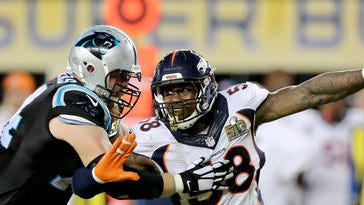 FILE - In this Sunday, Feb. 7, 2016 file photo, Denver Bronco's Von Miller (58) makes an outside rush against the Carolina Panthers' Mike Remmers (74) during the NFL Super Bowl 50 football game in Santa Clara, Calif.  While their quarterback situation might be unsettled, the Broncos know they've got one of the league's best defenses back, especially with the return of Super Bowl MVP Von Miller.(AP Photo/Gregory Payan, File)
