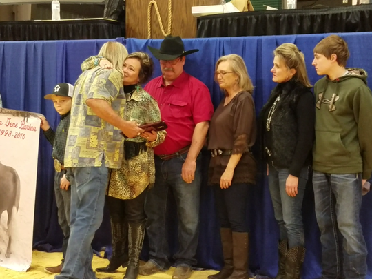 The Nueces County Junior Livestock Show presented a plaque in memory of Kollyn Barton to his family Friday, Jan. 20, 2017, at a memorial ceremony during the show in the Richard M. Borchard Regional Fairgrounds in Robstown.