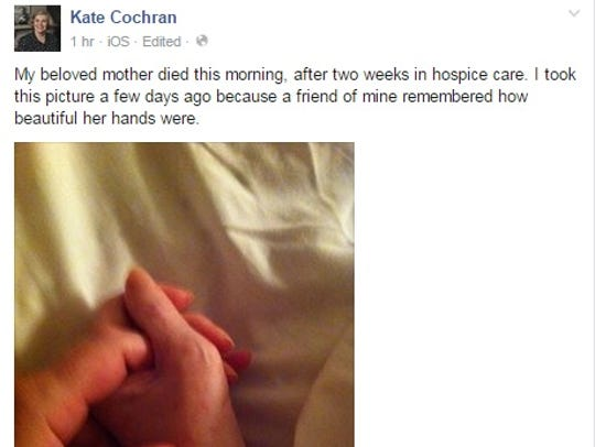 Daughter Kate Cochran's post on Facebook Friday.