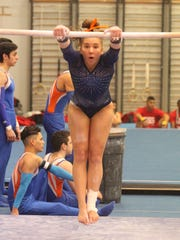 Central High School's Mary Grace Thompson tied for second with a 9.25 on uneven bars and was third in the all-around in a meet against Odessa Permian and Odessa High at the James R. White Gymnastics Center on Thursday, March 1, 2018.