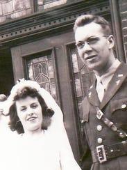 June and her husband Peter Schumacher at their wedding
