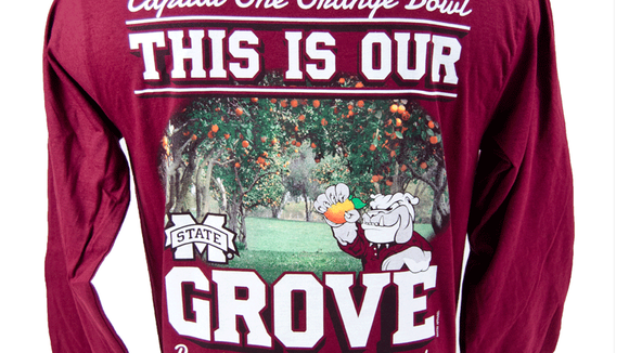 """""""This is our Grove"""" shirts are being created for the Orange Bowl which contain an error."""